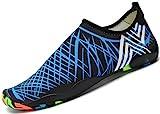 SAGUARO® Unisex Badeschuhe Aquaschuhe Wasserschuhe Schwimmschuhe Weiche Atmungsaktiv Leicht Rutschfest Schuhe für Damen Herren,Blau 41