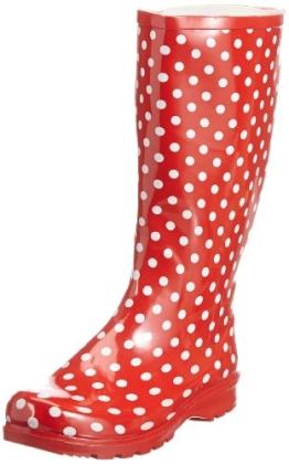 Playshoes Gummistiefel Punkte aus Naturkautschuk 190100, Damen Gummistiefel, Rot (rot 8), EU 39 - 1